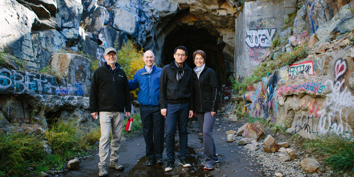Tim Young, Scott Faulkner, Zhou Tian & Laura Jackson explore the train tunnels in Truckee, CA.